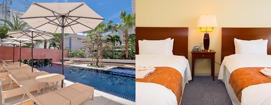 【ホテルパームロイヤルNAHA国際通り】屋外プール&大浴場&客室が最大10時間利用OK!