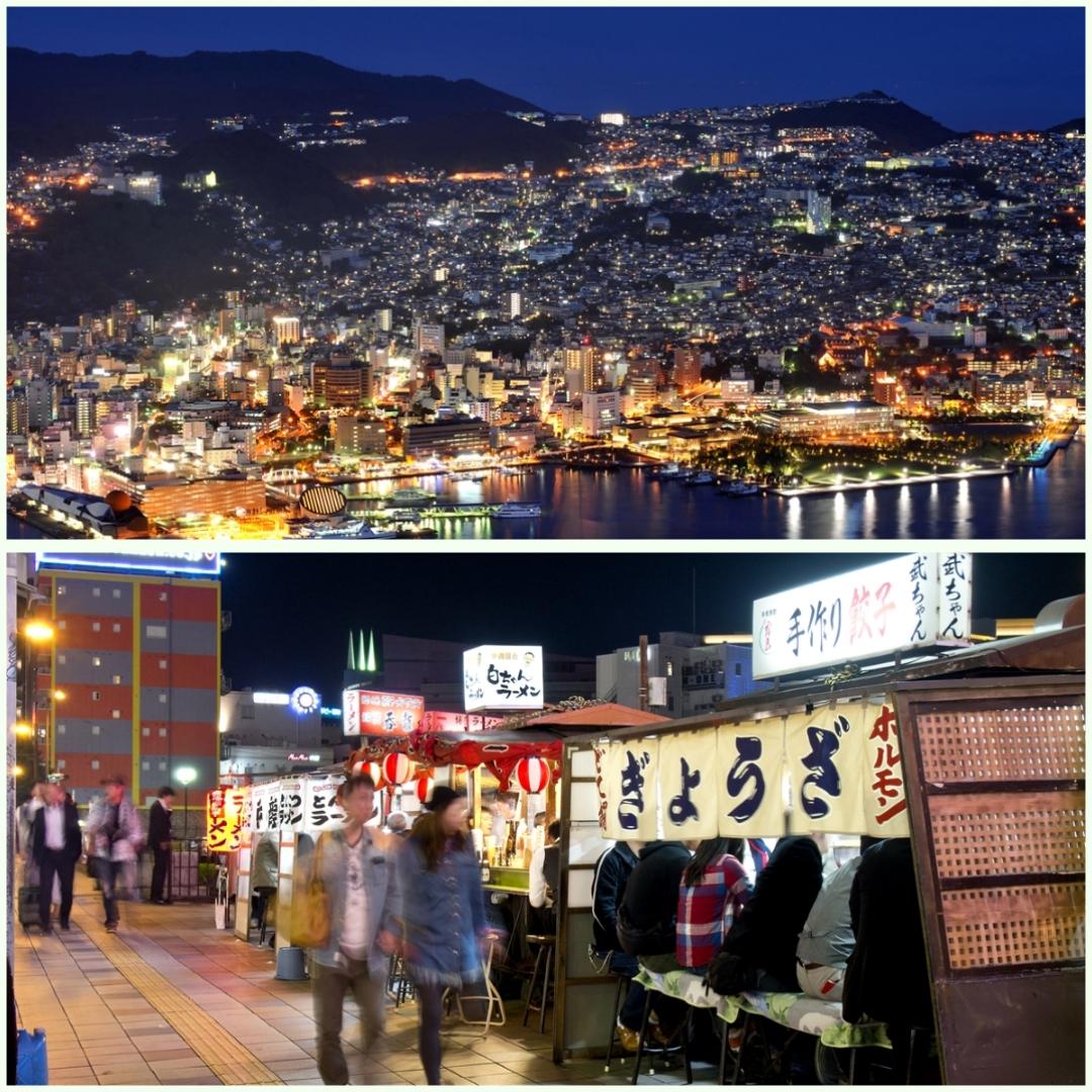 福岡の屋台と稲佐山の夜景