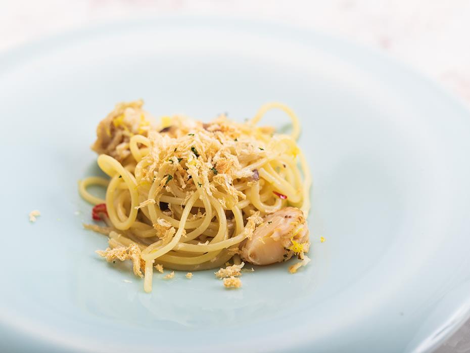 ホタテとレッドアンディーブのレモンスパゲッティ